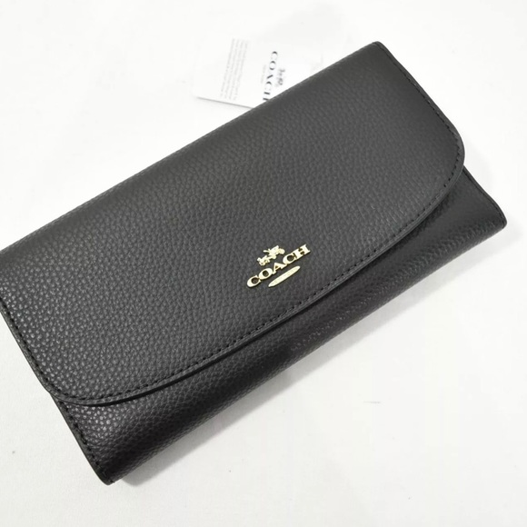 ❌SOLD❌ Coach Black Leather Checkbook Wallet NIB